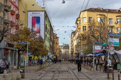 Walking people on Graf Ignatiev street in city of Sofia, Bulgaria. SOFIA, BULGARIA -NOVEMBER 12, 2017: Walking people on Graf Ignatiev street in city of Sofia Royalty Free Stock Images