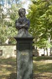 SOFIA, BULGARIA - OCTOBER 08 , 2017: monument to Russian poet Pushkin near Russian church, built in 2001 year. Royalty Free Stock Images