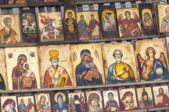 SOFIA BULGARIEN AM 14. APRIL 2016: Holz machte die orthodoxen religiösen Schmerz Stockfotos