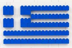 Sofia Bulgarien - Juli 16, 2015: Plast- LEGO blockerar stycken i den planar strukturen som visar nationsflaggan av Grekland arkivbilder