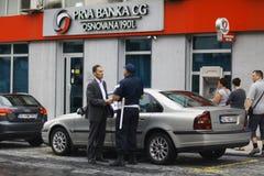 Sofia, BULGARIEN - 14. Juni: Polizei hört auf, am 14. Juni 2014 zu beleidigen Stockfoto