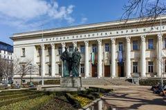 SOFIA, BULGARIEN - 17. MÄRZ 2018: Erstaunliche Ansicht von Nationalbibliothek-St. Cyril und Methodius in Sofia Lizenzfreie Stockfotos