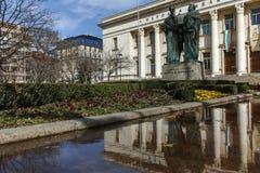 SOFIA, BULGARIEN - 17. MÄRZ 2018: Erstaunliche Ansicht von Nationalbibliothek-St. Cyril und Methodius in Sofia Lizenzfreie Stockbilder