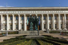 SOFIA, BULGARIEN - 17. MÄRZ 2018: Erstaunliche Ansicht von Nationalbibliothek-St. Cyril und Methodius in Sofia Stockfotografie