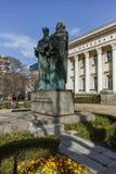 SOFIA, BULGARIEN - 17. MÄRZ 2018: Erstaunliche Ansicht von Nationalbibliothek-St. Cyril und Methodius in Sofia Stockfotos