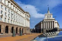 SOFIA, BULGARIEN - 17. MÄRZ 2018: Gebäude des Ministerrats und des ehemaligen kommunistische Partei-Hauses in Sofia Stockbilder