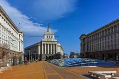 SOFIA, BULGARIEN - 17. MÄRZ 2018: Gebäude des Ministerrats und des ehemaligen kommunistische Partei-Hauses in Sofia Lizenzfreie Stockfotografie