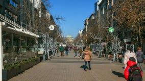 SOFIA, BULGARIJE - DECEMBER 20, 2016: Lopende mensen op Vitosha Boulevard in stad van Sofia stock fotografie