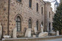 SOFIA, BULGARIJE - FEBRUARI 21, 2019: Buildng van Archeologisch Museum op het centrum van stad van Sofia, Bulgarije stock afbeelding