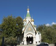 SOFIA, BULGARIJE - OKTOBER 08, 2017: St Nicholas Russian kerk, Stock Afbeelding