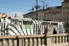 SOFIA, BULGARIJE - OKTOBER 09, 2017: tram met reclame van de dierentuin van Sofia Royalty-vrije Stock Afbeelding