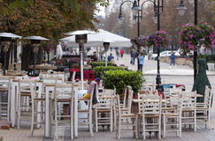 Sofia Cafe Tables Street royaltyfri fotografi