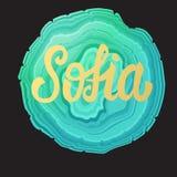 Sofia card. Golden lettering calligraphy inscription name. Vector illustration. stock illustration