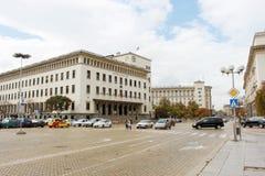 Sofia City Center. SOFIA, BULGARIA - CIRCA OCTOBER 2013 - Bulgarian National Bank building and the street in the center of Sofia, the capital of Bulgaria Stock Photos