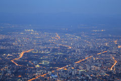Sofia at dusk. Image of Sofia city from high at dusk. The capital of Bulgaria royalty free stock photo