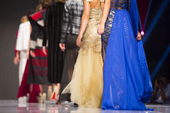 Sofia Fashion Week female models backs. Female models are standing in line at the runway during the Autumn/Winter Sofia Fashion Week Show 2016 in Sofia, Bulgaria stock images