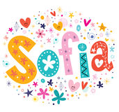 Sofia girls name decorative lettering type design Royalty Free Stock Images