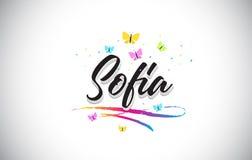 Sofia Handwritten Vetora Word Text com borboletas e Swoosh colorido ilustração royalty free