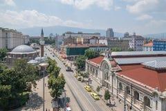Sofia i stadens centrum Bulgarienhuvudstad Arkivfoto