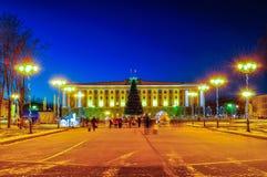Sofia kwadrat podczas nowy rok wakacji w Veliky Novgorod, Rosja Fotografia Stock