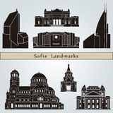 Sofia landmarks and monuments. On blue background in editable vector file Stock Photos