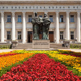 Sofia Library. Statues of Cyril and Methodius in front of the National Library in Sofia, Bulgaria Stock Photography