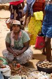 Malagasy peoples on big colorful rural Madagascar marketplace Stock Images