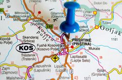 Pristina on map. Sofia on map with push pin. Prishtina, Prishtin Royalty Free Stock Images