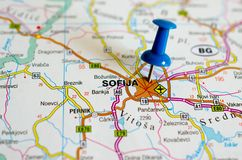 Sofia on map. With push pin. Sofija Royalty Free Stock Photos