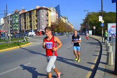 Sofia  Marathon participants downtown streets Stock Images