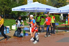 Sofia Marathon refreshment beverage point. On October 12, 2014 in Sofia was held 31 International Marathon. The race started a total of 2,200 people, but at Royalty Free Stock Images