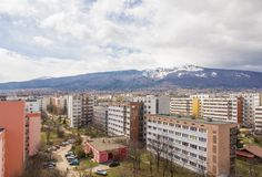 Sofia mountain Vitosha. Sofia with residential buildings and mountain Vitosha Stock Photos