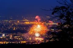 Sofia-Nachtfeuerwerke Stockfotografie