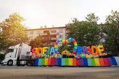 Sofia Pride lastbil arkivfoton