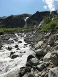 The Sofia River Valley. View of the Sophia waterfalls from above, the Sofia glacier, Mount Sofia and the river valley Royalty Free Stock Image