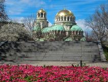 Sofia Spring y Alexander Nevski Temple, Bulgaria fotografía de archivo libre de regalías
