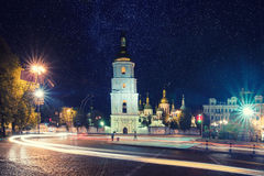 Sofia square at night Royalty Free Stock Images
