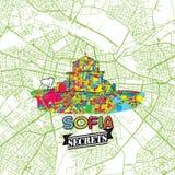 Sofia Travel Secrets Art Map Foto de archivo libre de regalías