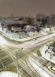 Sofia winter snowy boulevards sityscape. Stock Photos