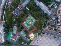 Sofievskaya Square and St. Sophia Cathedral in Kiev, Ukraine. Aerial view of Sofievskaya Square and St. Sophia Cathedral in Kiev, Ukraine. Tourist Sight royalty free stock image