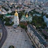 Sofievskaya Square and St. Sophia Cathedral in Kiev, Ukraine. Aerial view of Sofievskaya Square and St. Sophia Cathedral in Kiev, Ukraine. Tourist Sight royalty free stock photo