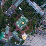 Sofievskaya Square and St. Sophia Cathedral in Kiev, Ukraine. Aerial view of Sofievskaya Square and St. Sophia Cathedral in Kiev, Ukraine. Tourist Sight royalty free stock photos