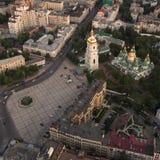 Sofievskaya Square and St. Sophia Cathedral in Kiev, Ukraine. Aerial view of Sofievskaya Square and St. Sophia Cathedral in Kiev, Ukraine. Tourist Sight stock images