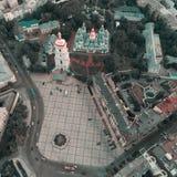 Sofievskaya Square and St. Sophia Cathedral in Kiev, Ukraine. Aerial view of Sofievskaya Square and St. Sophia Cathedral in Kiev, Ukraine. Tourist Sight stock photography