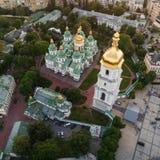 Sofievskaya Square and St. Sophia Cathedral in Kiev, Ukraine. Aerial view of Sofievskaya Square and St. Sophia Cathedral in Kiev, Ukraine. Tourist Sight stock photo