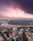 Sofievskaya Square and St. Sophia Cathedral in Kiev, Ukraine. Panoramic Aerial view of Sofievskaya Square and St. Sophia Cathedral and the Dnieper River in the stock photo