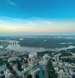 Sofievskaya Square and St. Sophia Cathedral in Kiev, Ukraine. Panoramic Aerial view of Sofievskaya Square and St. Sophia Cathedral and the Dnieper River in the stock photos