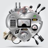 Sofistikerad elektronisk apparat i form av hjärta med instrumentbrädan stock illustrationer