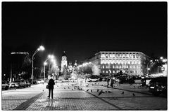 Sofiyskaya square Kiev, Ukraine. An evening walk Royalty Free Stock Image