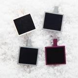 Sofortige Fotofelder auf Schnee Lizenzfreie Stockbilder